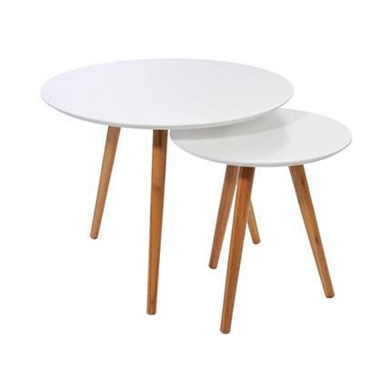 Set de 2 tables gigogne rondes en bois achat vente for Table basse laquee beige