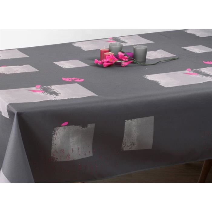 Nappe Anti-Taches Coquelicot Gris - Taille : Ovale 150X250 Cm
