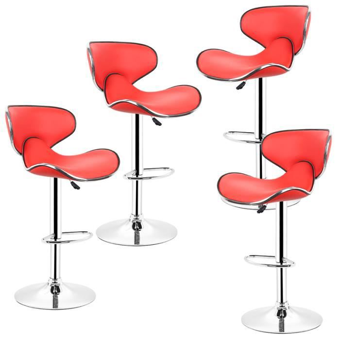 Design Et 360 Tabouret 4 Rouge Bar Chaise En réglable Lot Pivotant Similicuir De Hauteur rtxhCsQdB