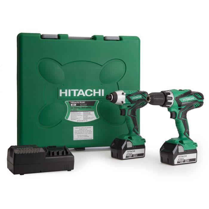 HITACHI Pack perceuse-visseuse à percussion KC18DGL & visseuse à chocs DV18DGL - Livré avec 2 batteries 18 V