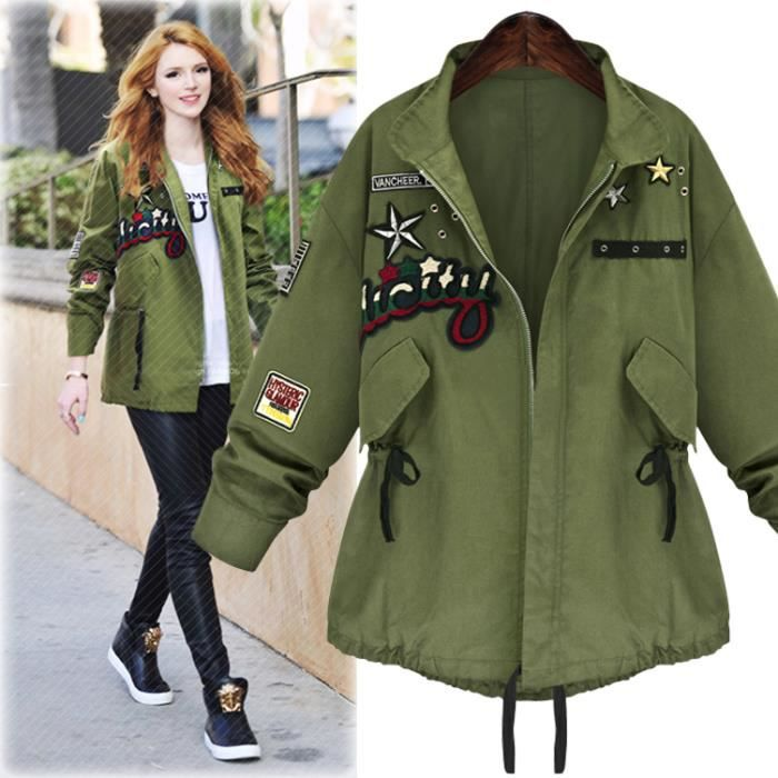 veste militaire femme en jean verte printemps vert achat vente veste soldes d s le 10. Black Bedroom Furniture Sets. Home Design Ideas