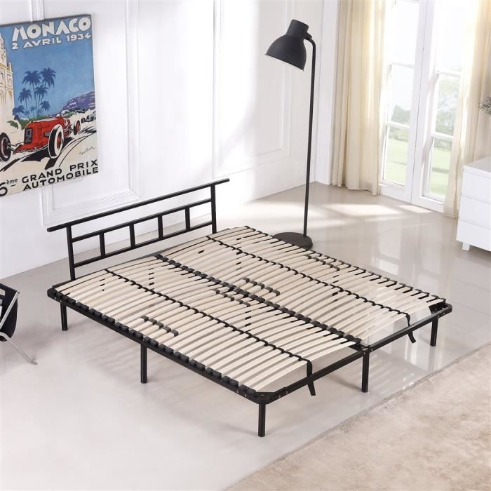 lit en m tal 160x200 cm achat vente structure de lit cdiscount. Black Bedroom Furniture Sets. Home Design Ideas