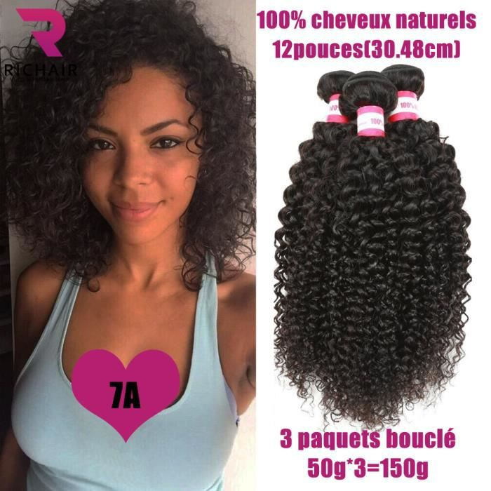 PERRUQUE - POSTICHE 3 tissage bresilien boucle virgin hair cheveux nat