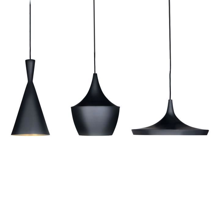 Lampe e suspension amsti acier noir unique achat vente for Suspension 3 lampes