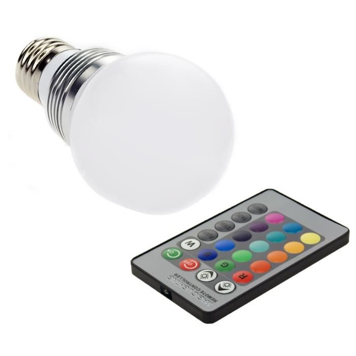 Ampoule rgb led changeable 16 couleurs 3w e27 for Ampoule de couleur castorama