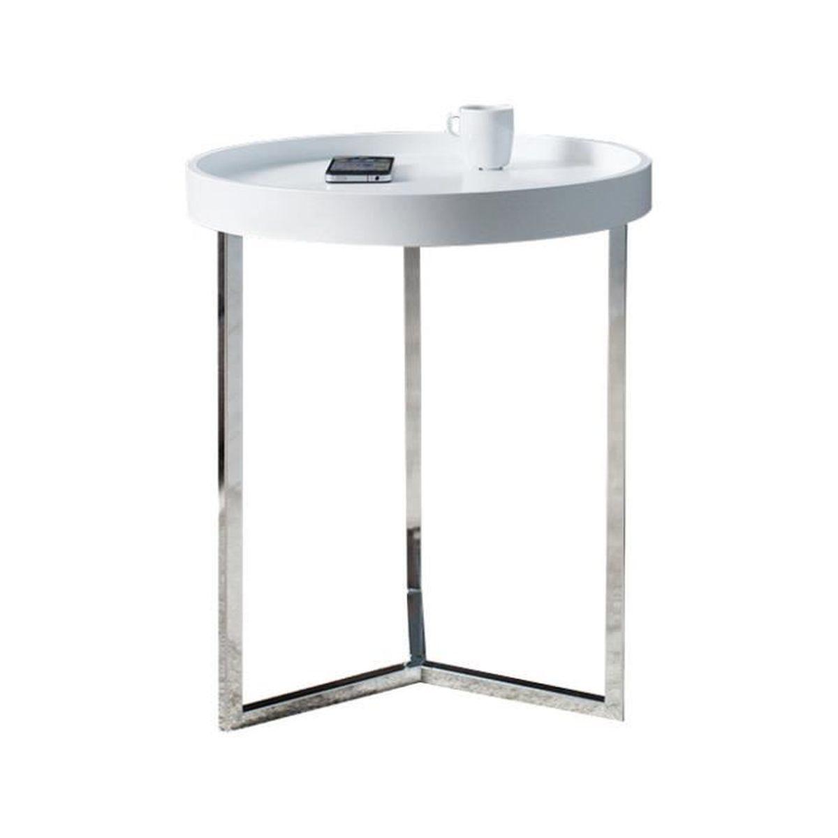Table D Appoint 40 Cm Avec Un Plateau Blanc En Bois Et Un