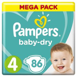COUCHE PAMPERS Baby-Dry Taille 4, 9-14 kg - 86 Couches -