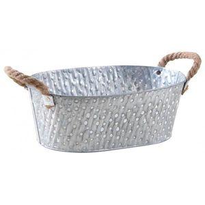 CAISSE BOIS Corbeille ovale métal à pois blanc avec anses -  A
