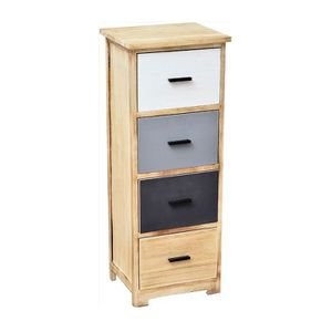 CHIFFONNIER - SEMAINIER Meuble 4 tiroirs Woodi bois blanc gris