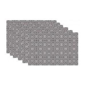 Set De Table Design Carreaux De Ciment En Vinyle Set De 6 Gris
