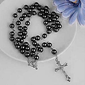 SAUTOIR ET COLLIER 1x croix pendentif collier perles de verre chaîne