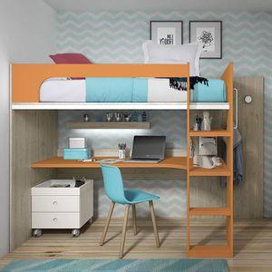 LIT MEZZANINE Lit mezzanine avec bureau - 170x200,3x109,2 cm - C