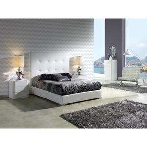 STRUCTURE DE LIT Lit KILIMA 160x200cm en PU blanc - L 200 x l 160 x