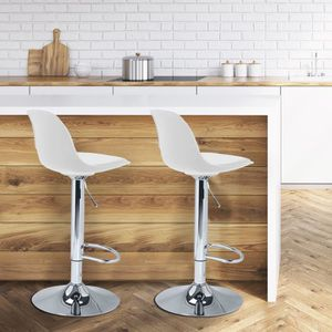 TABOURET DE BAR Lot de 2 tabourets de bar design blanc