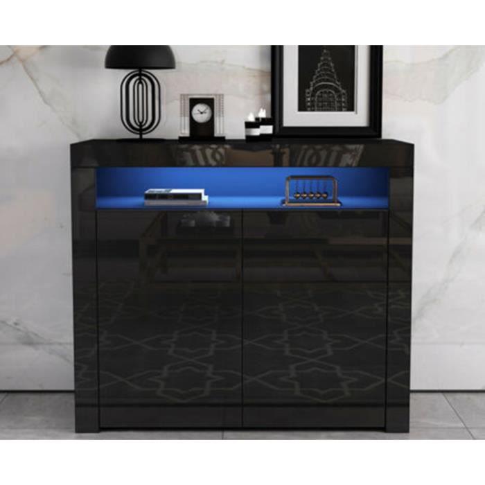 DOMICILE Buffet Bas avec contemporain noir laqué brillant bois- 108cm x 40cm x 92cm