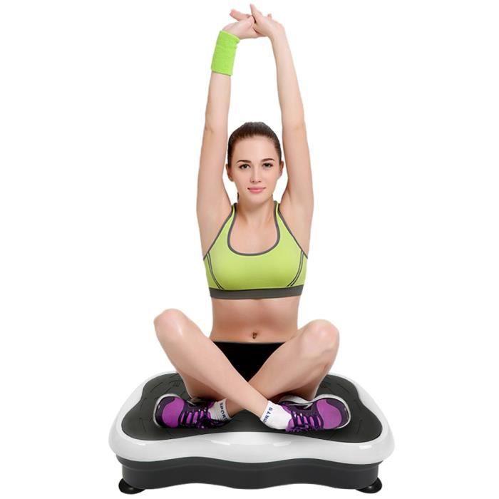 Équipement d'exercice de la plate-forme de vibrations de fitness avec USB haut-parleur Noir / Blanc