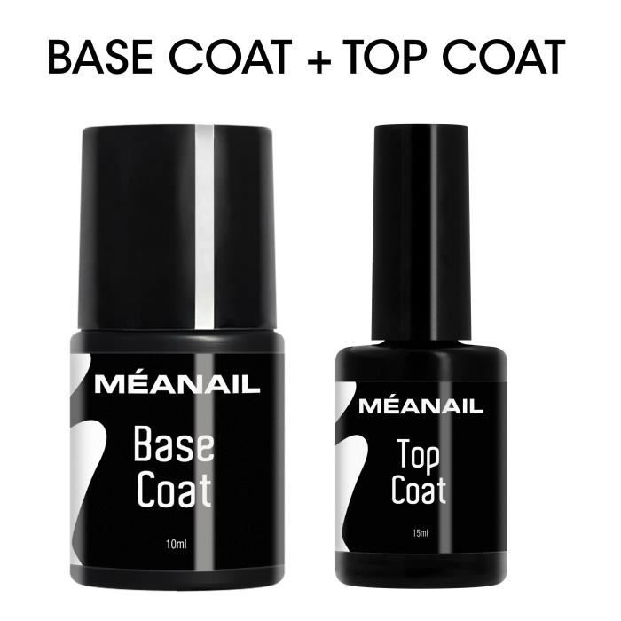 BASE & TOP COAT Semi-permanent • 10 + 15ML • Vernis de Base et de Finition pour manucure semi-permanent - Meanail Paris