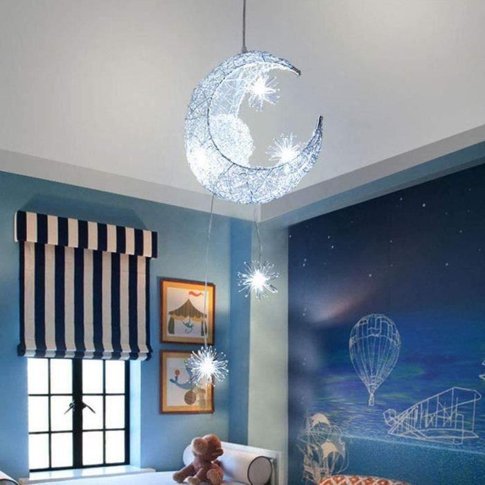 Lustre Suspension Lune étoiles LED Plafonnier Luminaire Aluminium avec 5 Ampoules pour Enfants Chambre (lumière blanche),75