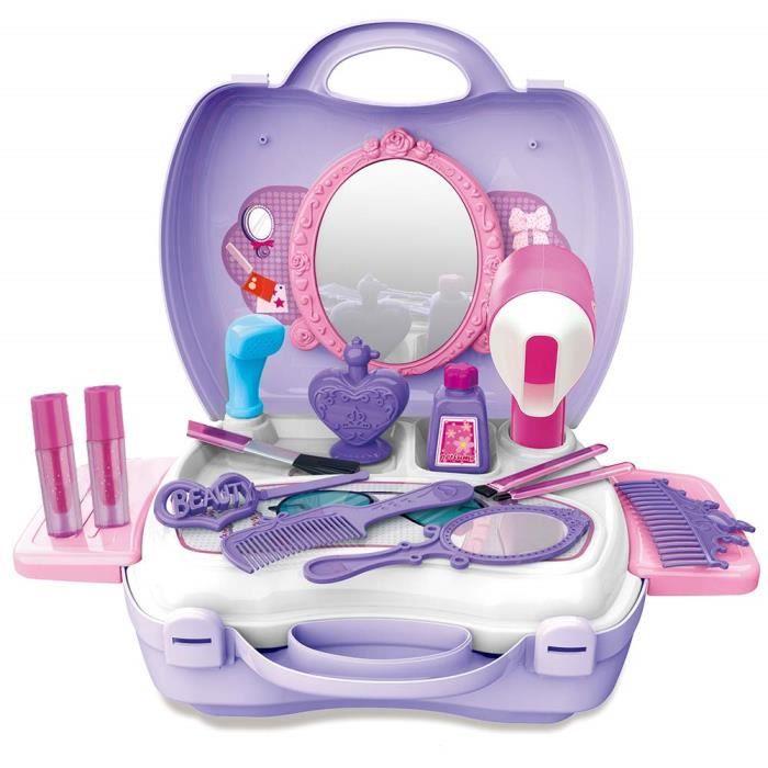 Mallette/Trousse de maquillage beauté Dinette enfant Jeux d'imitation 21 pièces jouet fille 2 3 4 5ans