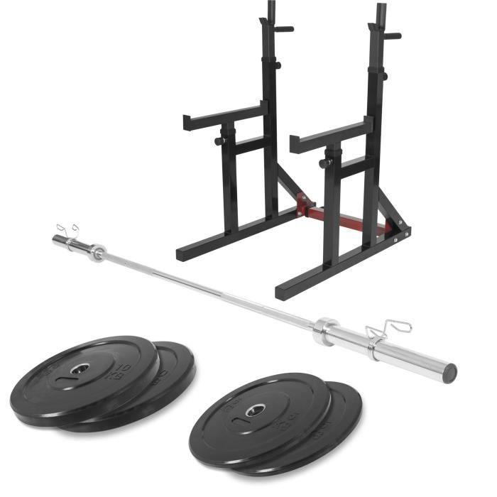 Gorilla Sports - Squat rack avec barre olympique de 218cm + 30kg des poids (2x5 et 2x10) bumper en 51mm