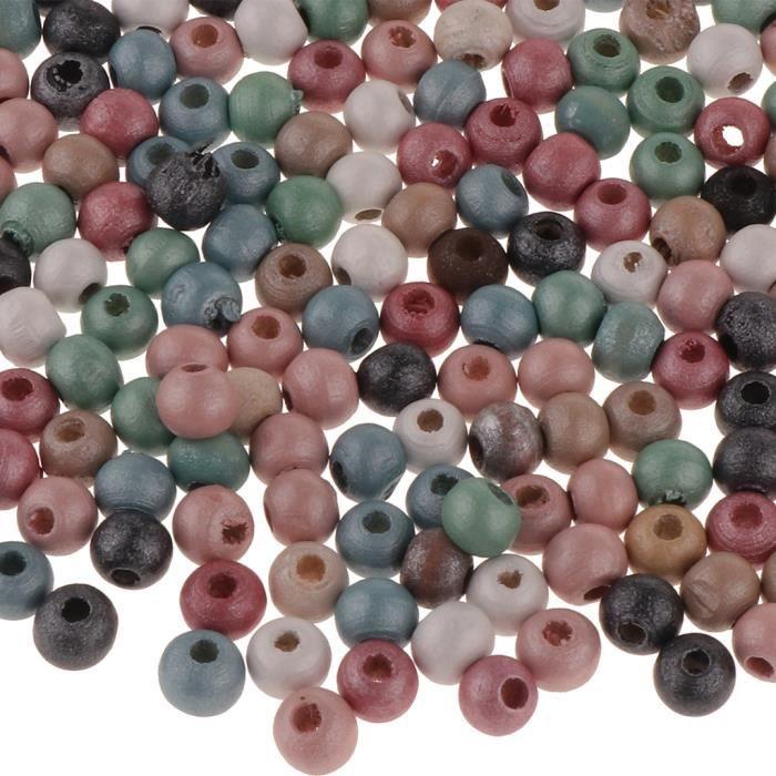 1 Paquet Perles Intercalaires Perles Lâche Bois Nacrées à Gros Trous pour Entretoise de Fabrication De Bijoux Décor 6mm 300pcs