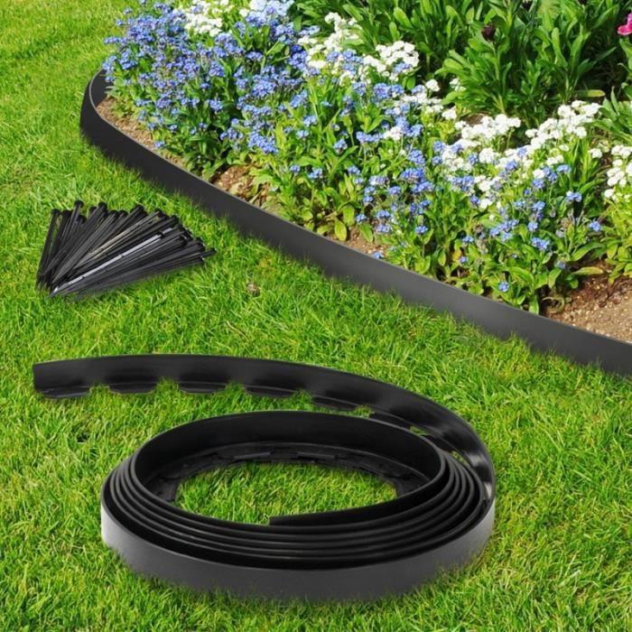 ID MARKET - Bordurette de jardin flexible noire 10M + 30 piquets d'ancrage