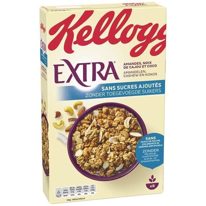 KELLOGG'S EXTRA Muesli amandes, noix de cajou et coco Sans sucres ajoutés 400 g