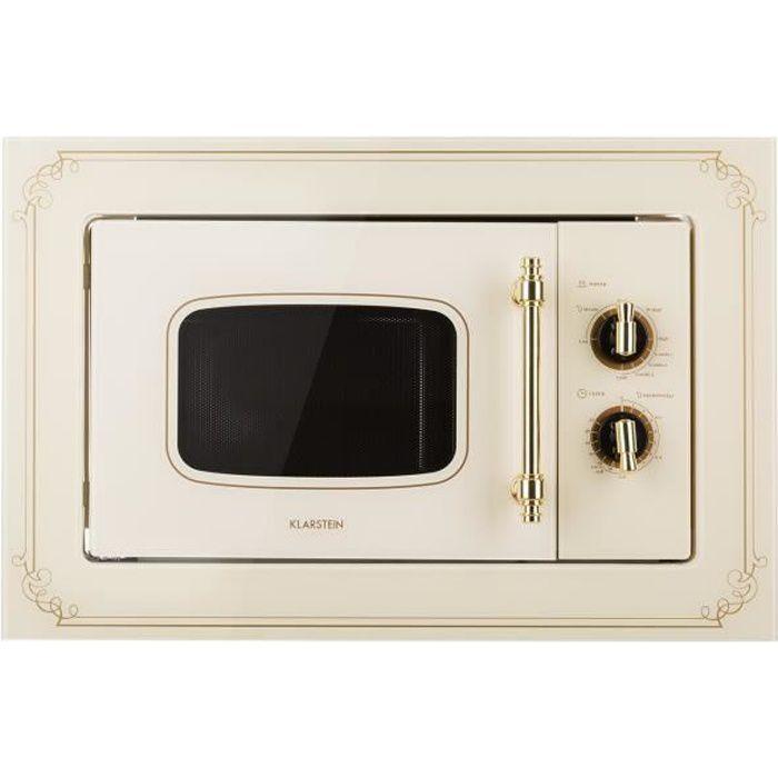 Klarstein Victoria 20 - Four micro-ondes grill combiné - Encastrable - 20L - 800 W - Grill 1000W - Style rétro - Ivoir