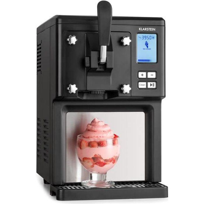Klarstein Sahnehäubchen Machine á crème glacée 200W avec compresseur 1,5L , pour 900g de glace - design inox noir