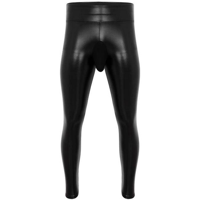 Legging Homme Sexy Cuir PU Hiver Chaud Bulge Pouch Pantalon Moulant Velours Collant Slim Fit M-XXXL Noir