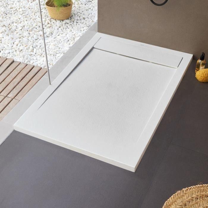 Receveur de douche extra-plat en résine et fibre de verre - NEW YORK 80 x 100 cm Blanc