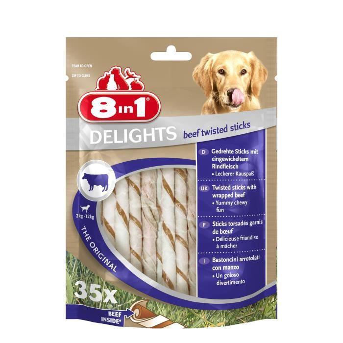 8IN1 Friandise stick à mâcher - En peau de bœuf garni de bœuf - Pour chien - 35 pièces