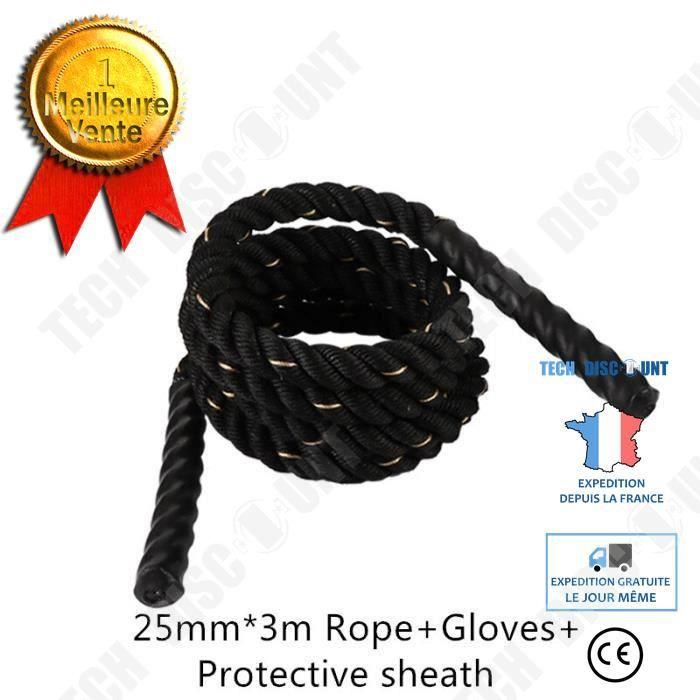TD® Accessoires Fitness - Musculation,Corde de combat d'entraînement de corde à sauter lourde pondérée pour la boxe - Type 25mm3m