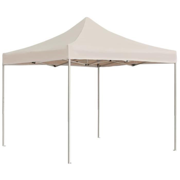 TENTE DE CAMPING Tente de réception pliable Aluminium 3 x 3 m Crème