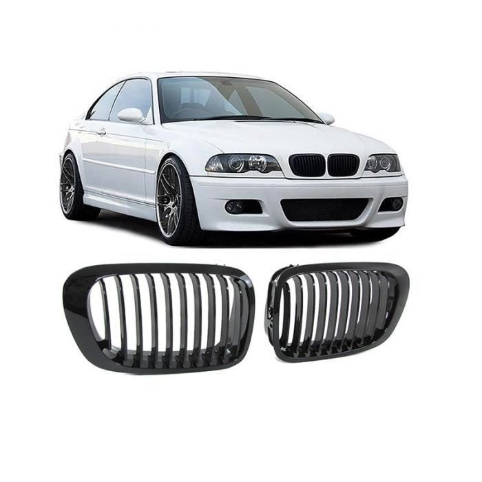 2 grille de calandre noir brillant laquee bmw e46 serie 3 coupe m3 et phase 1 de 1999 a 04 2003. Black Bedroom Furniture Sets. Home Design Ideas