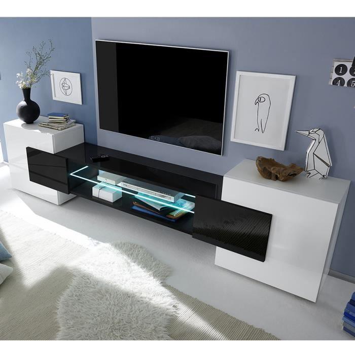 Meuble Tv Blanc Et Noir Laque Brillant Argos 3 L 258 X P 37 X H 61 Cm Blanc Sans Eclairage