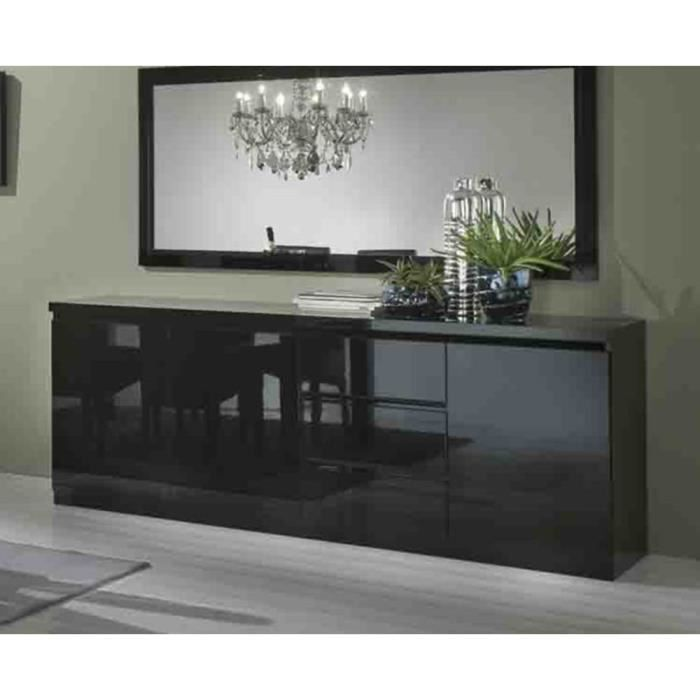 bahut 3 portes 3 tiroirs l220cm miroir l180cm roma noir. Black Bedroom Furniture Sets. Home Design Ideas
