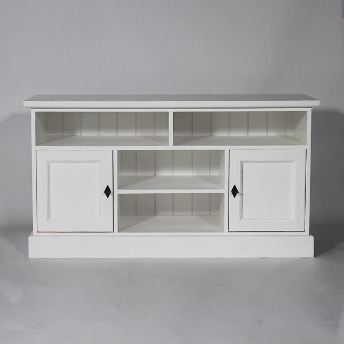 meuble tele en bois massif blanc calvi blanc achat. Black Bedroom Furniture Sets. Home Design Ideas