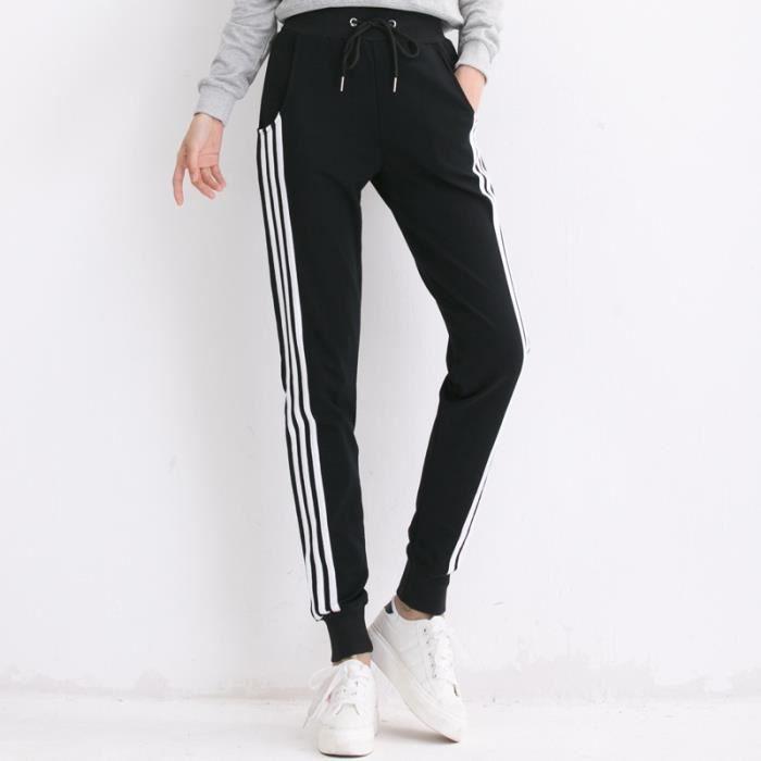 Noir Pantalon de survêtement sport femme classique GYM jogging taille coulissé rayure trois bande avec poches coton décontracté
