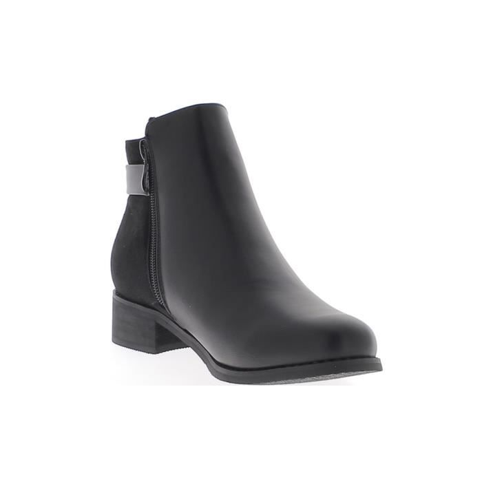 Bottines basses noires à talon de 3,5cm aspect daim et cuir brillant