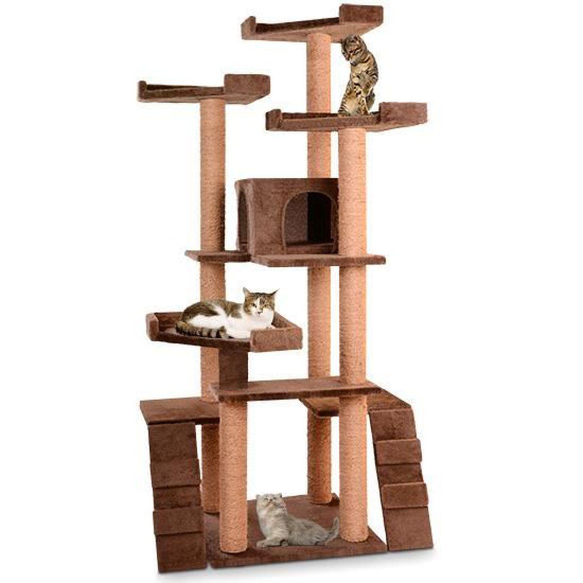 Griffoir Chat Carton Design arbre a chat pour grand chat pas cher solide geant marron