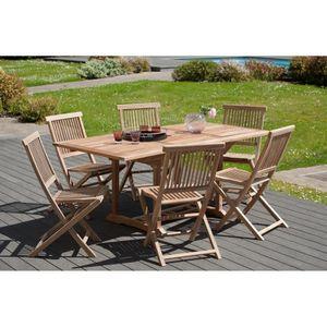 FAUTEUIL JARDIN  JAVA Lot de 2 chaises de jardin en bois teck JARDI