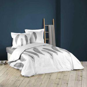 HOUSSE DE COUETTE ET TAIES Parure de lit imprimée douceur et plumes Blanc 260
