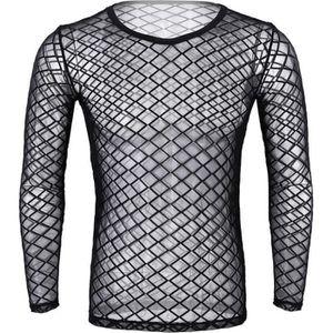MAILLOT DE CORPS Tee Shirt Résille Homme Body Sexy Transparent Manc