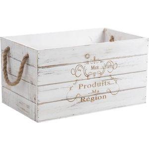 TIROIR COULISSANT Caisse de rangement en bois teinté - Dim : 38 x 23