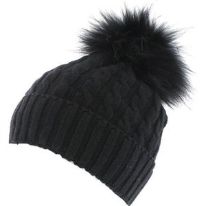BONNET - CAGOULE Toronto - Noir - Bonnet pompon fourrure - votrecha
