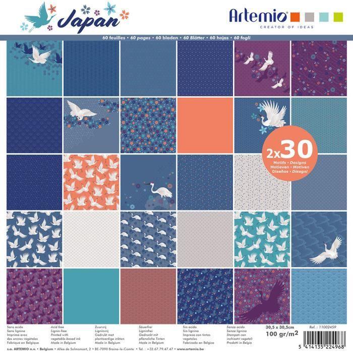 Bloc de 60 feuilles de papier scrapbooking 30x30 cm 'Japan' d'Artemio