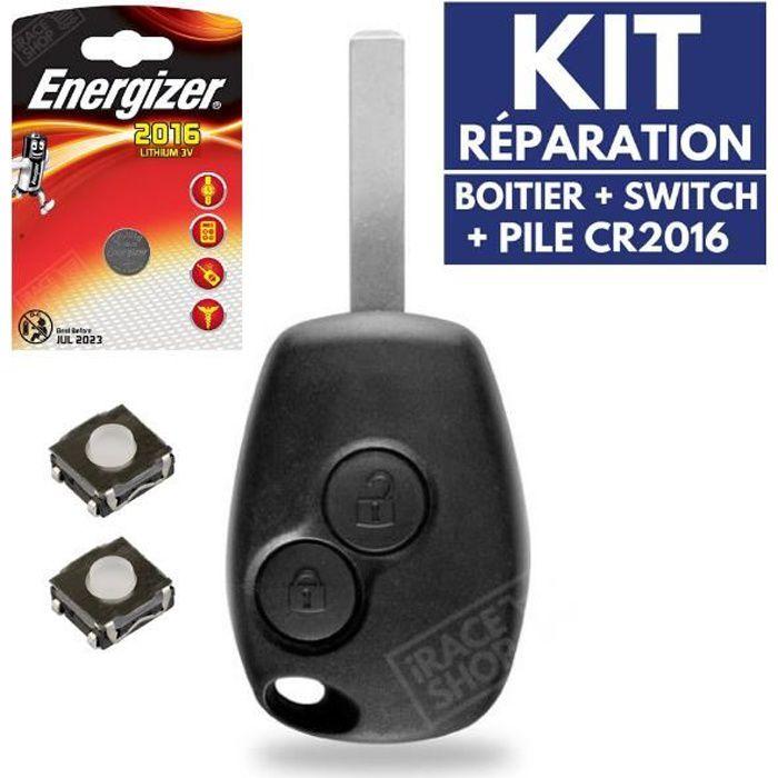 Coque Clé Plip Télécommande pour RENAULT Clio 3 Modus Twingo Master Kangoo + Switch + Pile CR2016 ENERGIZER