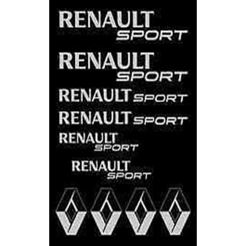10 Sticker Autocollant RENAULT SPORT couleur Gris Clio Twingo Megane Sandero - Par MXSPIRIT