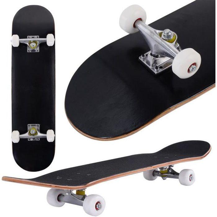 Skateboard pour Enfant avec 4 Roues 79 x 20 cm Capacité de Charge Statique 50 kg Jeux d'extérieur Noir